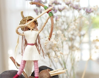 Fairy Mobile - Sustainable design, Waldorf inspired Art doll ,Woman Archer, Pink and red,