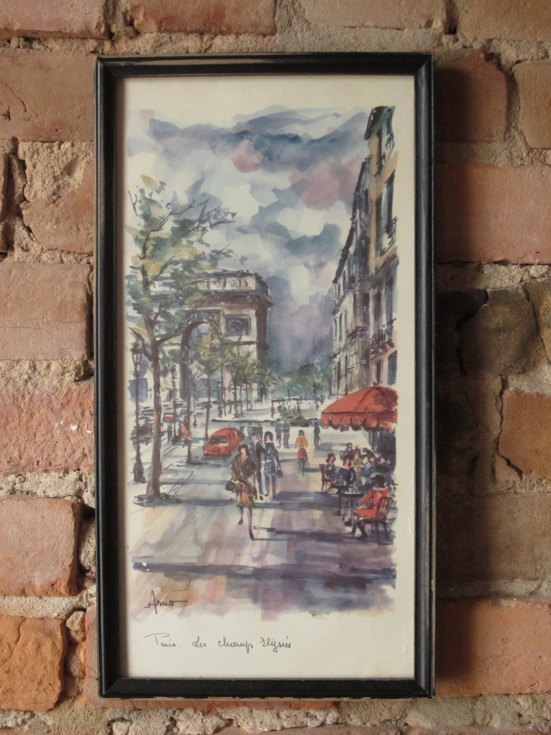 Vintage Paris Print Circa 1960 S Artist Arno By Urbanthriftco