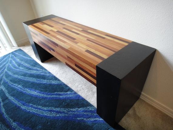 "Modern Zen mixed wood handcrafted bench - Teak, Walnut, Rose wood - 47.25"""