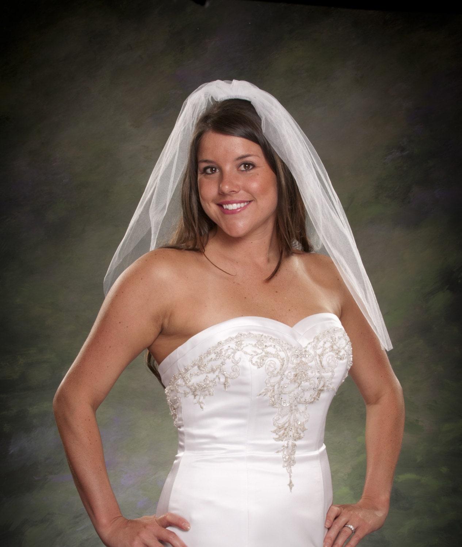 Short Bridal Veil Light Ivory Wedding Veil By