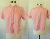 1950s/1960s Vintage Classic Girly Pink Button-Up Blouse Shirt Top M/L
