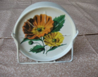 Vintage Poppy Metal Coaster Set with stand
