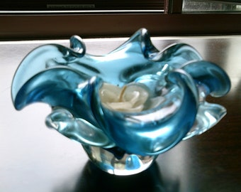 vintage art glass, art glass, Murano art glass, blue votive candle, ruffled votive candle