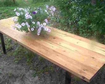 The Cygnet Farm Table, 8u0027 Long, Reclaimed Salvaged Lumber, Powder Coated  Frame
