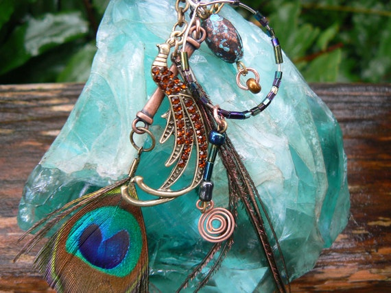 peacock feather ear cuff wrap  copper mixed metals charms beaded hoop in gypsy boho hippie  tribal and belly dancer style