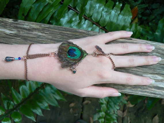 peacock hand chain coachella slave bracelet peacock feather charms  gypsy festival boho hippie gothic fantasy tribal and belly dancer style
