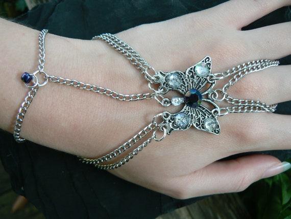 butterfly slave bracelet gemstone  gypsy boho hippie gothic and fantasy style