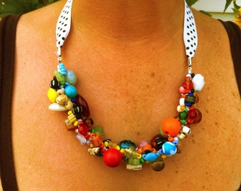 Colorful Hand Beaded Necklace