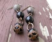 Black Pearl Earrings, Modern Vintage Earrings, Pearl Earrings, Sparkle Earrings, Dangle Earrings, Wedding Jewelry