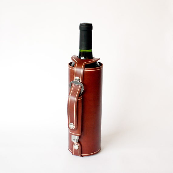 Items Similar To Leather Wine Bottle Holder With Stainless