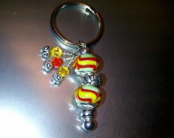 Tropical Beaded Key Ring