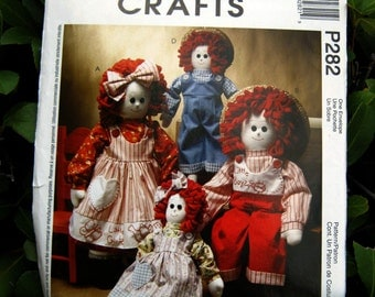 """Uncut Pattern - McCalls 3139 (p282) - 16 and 22"""" Red Headed Dolls with Clothes"""