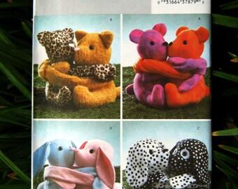 """Uncut Pattern - Butterick B4153 - Stuffed Hugging Pals - 4 9"""" animals"""