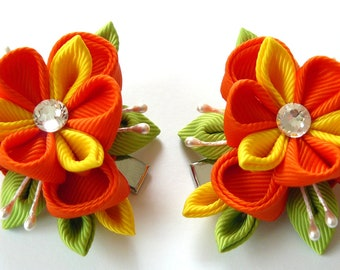 Kanzashi  Fabric Flowers. Set of 2 hair clips. Yellow, orange and apple green