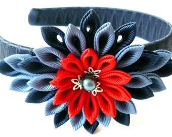 Kanzashi Fabric Flower headband.  Red and blue.