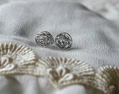 Silver Wire Yarn Ball Earrings