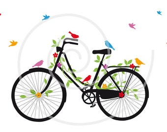 Vintage bicycle with birds, leaves and flowers, digital clip art, bike clipart, printable, illustration, EPS, SVG, instant download