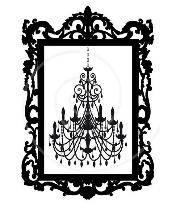Vintage chandelier in antique picture frame digital clip art