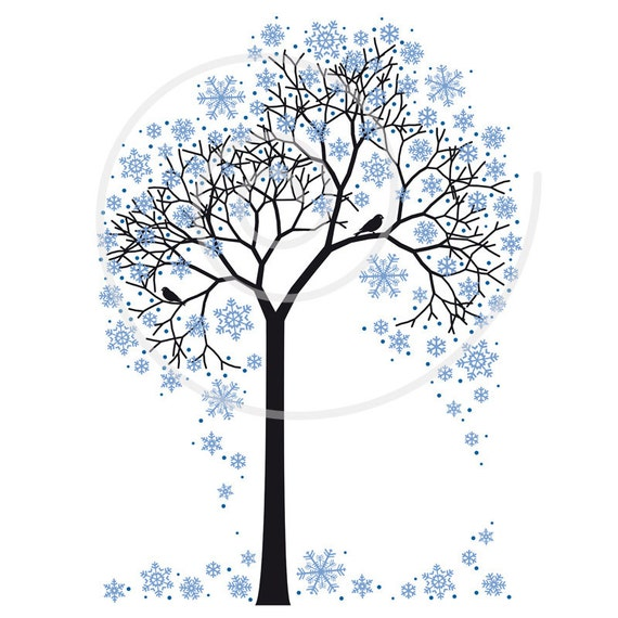 Winter tree with snowflakes and birds, illustration, seasonal, digital, clip art, clipart, clip-art, print, printable card, download, vector