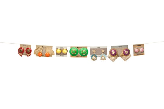 vintage 1980s costume jewellery lot, 7 pairs of bright, colorful earrings, never worn rainbow colors