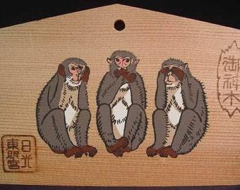 Votive Prayer Board Ema See Hear Speak No Evil Wise Monkeys Talisman Charm