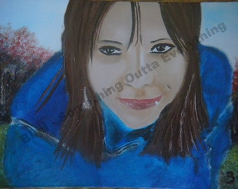 Sister original fine art portrait oil painting artist original free shipping