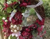 Grapevine Burgandy Hydrangea Wreath