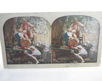 Stereo Optic Cards of Children and Animals