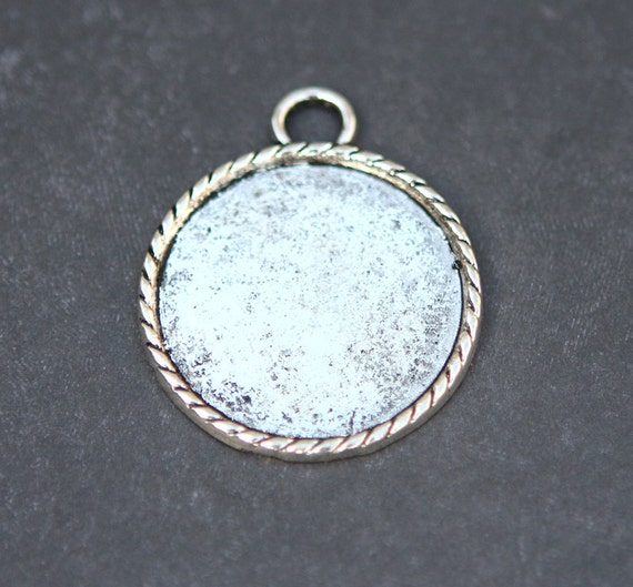 30mm antique silver pendant tray blanks blank bezel cameo