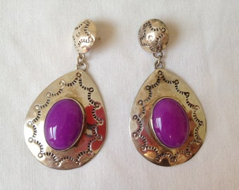 Vintage Sterling silver and purple gemstone earrings