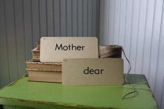 vintage flash cards - Mother dear