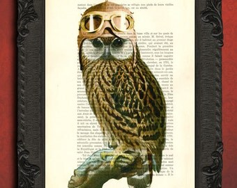 owl pilot hat and goggles dictionary art print   owl wall decor   steampunk animal owl  print   barred owl poster