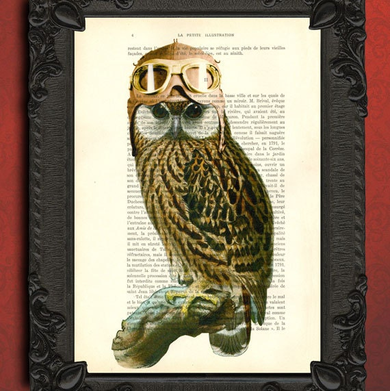 owl pilot hat and goggles dictionary art print | owl wall decor | steampunk animal owl  print | barred owl poster