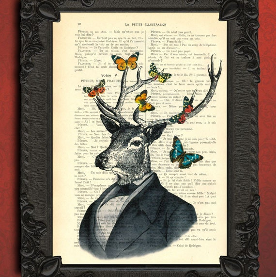 Deer in suit with colorful butterflies antique illustration dressed deer portrait