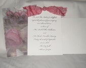 Anna Griffin White Invitation/Announcement Card with Pink Ribbon and Floral Paper Bag