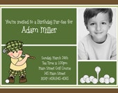 Golf Putt Putt Photo Birthday Invitations | Custom Design | Professionally Printed Card Stock | Boy Girl Twin Sibling Stationery Best Unique