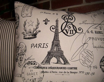 French Stamp Pillow Cover, Cottage, Shabby Chic Pillow Covers, French Country Cottage Pillow Covers, Eiffel Tower