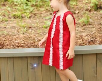 Summer girls dress D14 spring baby red ruffles valentines birthday /rusteam