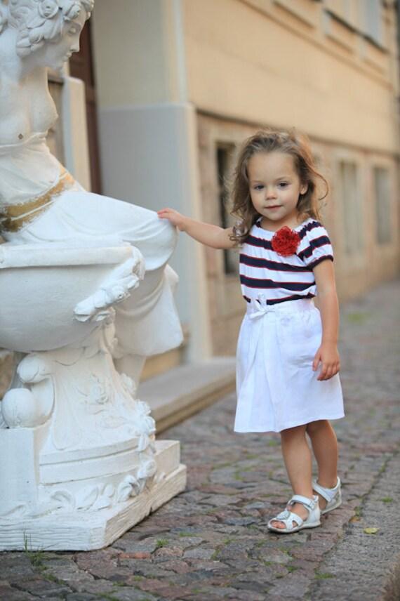 Summer white skirt S10 girls linen beach flower girls special occasion