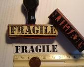 "1 ""Fragile"" vintage 1955 rubber stamp mark your packages from original plates. vintage wood too."