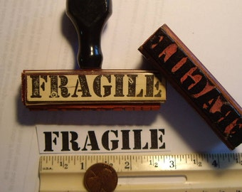 "1 ""Fragile"" vintage 1955 rubber stamp mark your packages from original plates. vintage wood too."