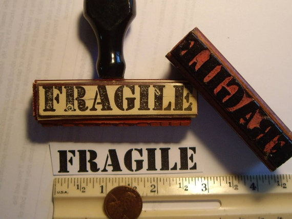 1 Fragile vintage 1955 rubber stamp mark your