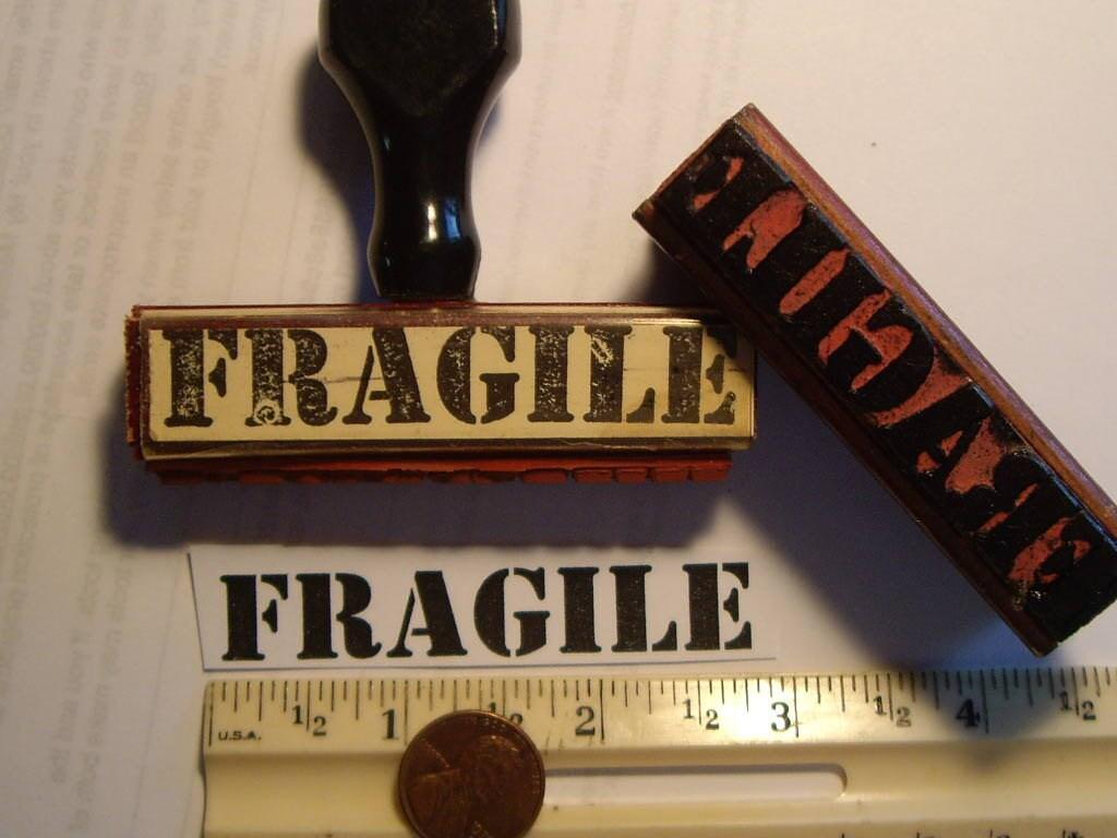 1 Fragile vintage 1955 rubber stamp mark your
