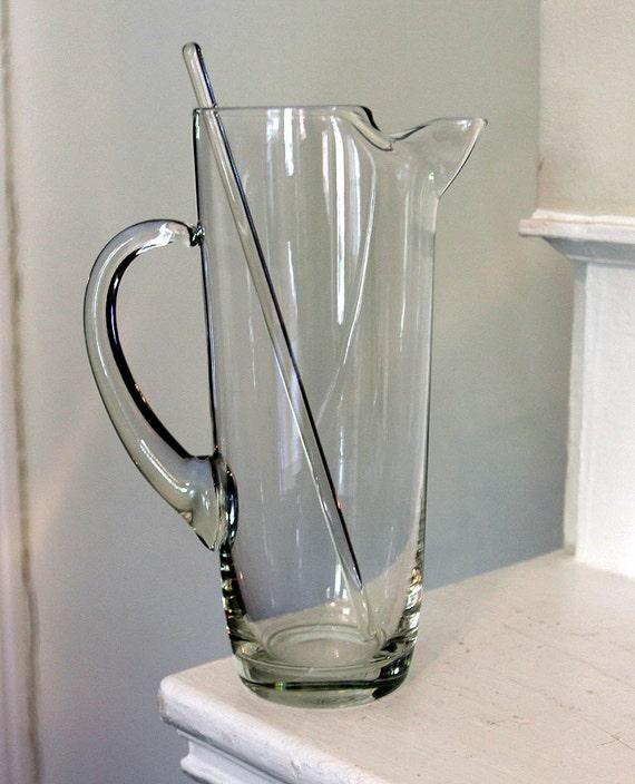 Retro Clear Glass Martini Pitcher With Glass Stir Rod Mid