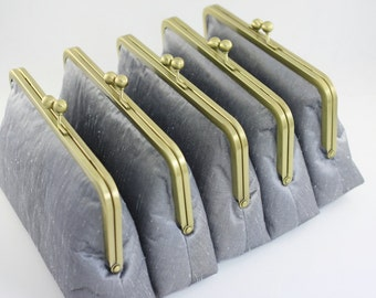 Dupioni Silk Silver Wedding Clutches / Bridesmaids Clutch Set / Bridesmaid Wedding Gifts - Set of 6