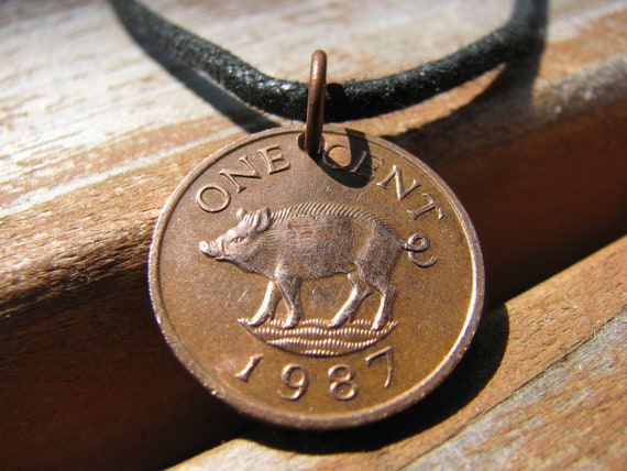 1987 Bermuda One Cent Pig Necklace