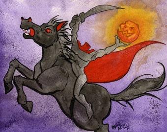 Headless Horseman, Disney Legend of Sleepy Hollow, Original Watercolor Painting