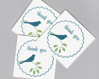 Cute Blue Bird Mini Thank You Cards - Set of 20 Folded Cards