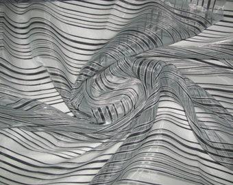 Blue Sheer  Striped Fabric
