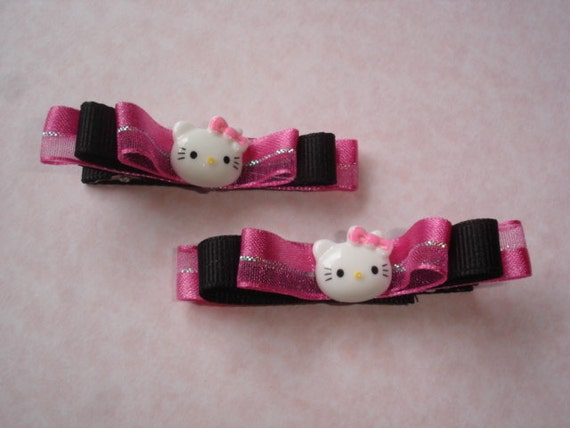 Handmade Hair Barrettes - Cute Kittens black and pink with bow hair clip